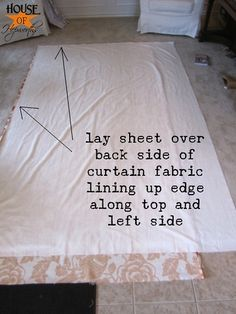 how to make my own curtains with fabric and a sheet! Perfect very little sewing and great directions! Guest room