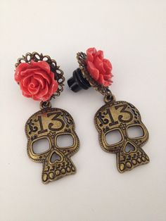 0G Custom Plugs Red  Rose & antique bronze by Lovekillsboutique, $16.00