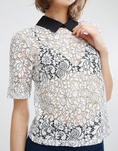 Image 3 of Fashion Union Lace Top With Contrast Collar