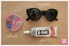 DIY Sunglasses with Silver Nailheads Supplies