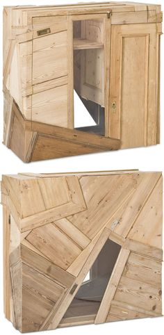 Upcycled furniture conjures images of simple structures, old-fashioned elements recast in new-but-similar roles. These salvage-born cabinets, shelves and other quirky furniture pieces turn those expectations upside down, sideways and then leave them at a dizzying angle.