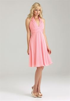 Silhouette: A-Line  Neckline: Halter  Gown Length: Short  Sleeve Style: Tank Straps  Fabric: Chiffon