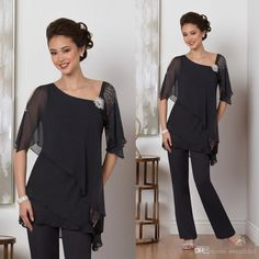 Cheap Two Piece Black Mother Of The Bride Pants Suit For Weddings Beads Chiffon Mother Groom Pant Suits Long Sleeve Wedding Guest Dress Mother Of The Bride Suits, Mother Of Groom Dresses, Mothers Dresses, Bride Dresses, Mother Bride, Plus Size Formal Dresses, Formal Evening Dresses, Formal Gowns, Formal Wear