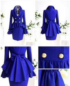 Wholesale 2012 autumn and winter navy blue elegant turn-down collar ruffle pleat. Mode Batik, Trend Fashion, Womens Fashion, Woolen Dresses, Mode Outfits, Mode Inspiration, Dress P, Victorian Fashion, African Fashion