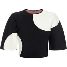 Graphic circle jacquard bell sleeve crop top. Material: 83% Rayon, 17% Polyester.