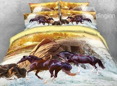 Luxury Bedding Sets On Sale Horse Bedding, Horse Quilt, 3d Bedding Sets, Luxury Bedding Sets, Bedding Decor, Bedding Websites, Brown Horse, Scandinavian Bedroom, Cool Beds