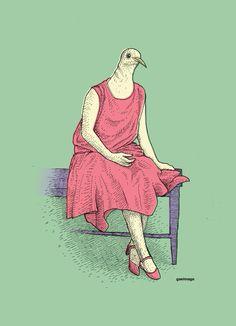 LadyPigeon #illustration #art #graphicart #graphicdesign #retro #retrodesign #retrographic #design #italy #italydesign #gaeimago #inking