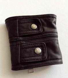 Nicole Mighty Genuine Black Leather Cuffs