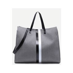 Dark Grey Canvas Tote Bag With Strap (15 CAD) ❤ liked on Polyvore featuring bags, handbags, tote bags, strap purse, handbag tote, canvas tote bags, handbags tote bags and canvas handbags