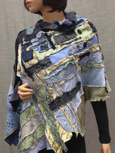 Poncho Upcycled Neckties Sea Sky Ice Navy Dark Blue Mint Light Green Yellow Patchwork Patterns Rever Tie Crafts, Denim Ideas, Altering Clothes, Recycled Fashion, Patchwork Patterns, Vintage Textiles, Couture, Scarf Styles, Body Shapes