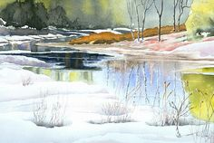 Spring Run-off at Willow Creek, watercolour by Jo Appleby