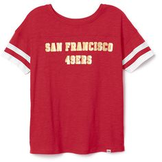 PINK San Francisco 49ers Scoopneck Tee ($33) ❤ liked on Polyvore featuring tops, t-shirts, red, graphic t shirts, scoop neck tee, relaxed fit tee, scoop neck top and relaxed fit t shirts