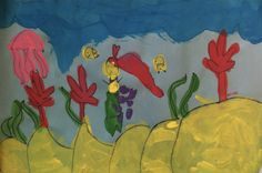 Kindergarten, Under the Sea Project, Tempera and black marker.