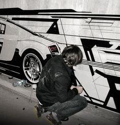 Tape-drawing on concrete in Munich / AUDI R8 / FLATAU / THESIGNER / 2007