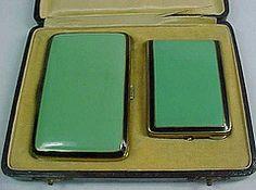 Ruby Lane Art Deco Enamel Cigarette Case, Match Case, in Presentation Box  by kfrishman
