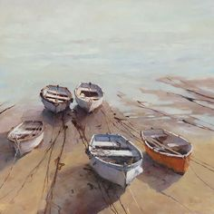 """PleinAir Magazine - Converting An Old Watercolor . And Winning """"Five Small Boats,"""" by Deborah Tilby, oil, 18 x 18 in. Watercolor Landscape, Landscape Paintings, Watercolor Paintings, Watercolors, Beach Paintings, Boat Painting, Painting & Drawing, Oil Painting Gallery, Art Gallery"""