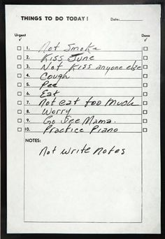 Words to live by. Johnny Cash's Short and Personal To-Do List