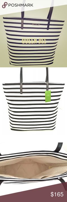 Kate spade striped tote nwt Very cute Kate spade bag with black and white stripes and queen bee written on bag. Has black strap and very roomy inside. Priced to sell so please no low balls. New with tags kate spade Bags Shoulder Bags