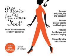 Pillows for Your Feet® Flats For Women - Soft Gel Cushion Insoles & Insert for flat shoes.