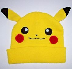 3c656513 NEW Pokemon Pikachu Big Face Yellow Beanie with Ears Knit Stocking Cap  Adult #Pokemon #