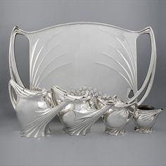 Art Nouveau Silver Tea Service by Follot