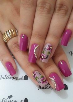 Acrylic Nail Designs, Best Acrylic Nails, Nail Art Designs, Pink Nail Art, Flower Nail Art, Pretty Nail Art, Nail Art Hacks, French Nails, Red Nails