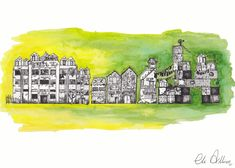 Find out all about Sour Fruit my debut novel is a quirky dystopia for readers who like their thrillers with a side of strange. Like The Hunger Games mashed with The Handmaiden's Tale with a metric ton of swears. It's out now.  An ink and watercolour illustration of a dark part of the fictional city Kingston, the setting of Sour Fruit. Watercolor Background, Watercolor And Ink, Watercolor Illustration, Sour Fruit, Creative Artwork, Ink Illustrations, Watercolor Techniques, Novels, World