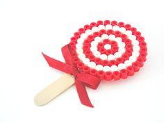 Lollipop candy hama beads brooch. Stocking stuffing