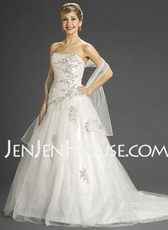 Wedding Dresses - $214.99 - A-Line/Princess Sweetheart Chapel Train Organza  Satin Wedding Dresses With Ruffle (002000280) http://jenjenhouse.com/A-line-Princess-Sweetheart-Chapel-Train-Organza--Satin-Wedding-Dresses-With-Ruffle-002000280-g280