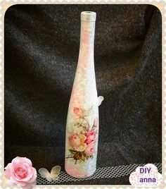 decoupage shabby chic bottle DIY ideas decorations craft tutorial