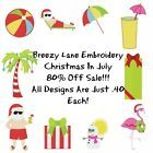 Christmas in July 4X4 and 5X7 Embroidery Machine Designs on CD