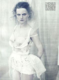 """A White Story""   Models: Sasha Pivovarova & Guinevere van Seenus   Photograph by Paolo Roversi   Vogue Italia   April 2010"