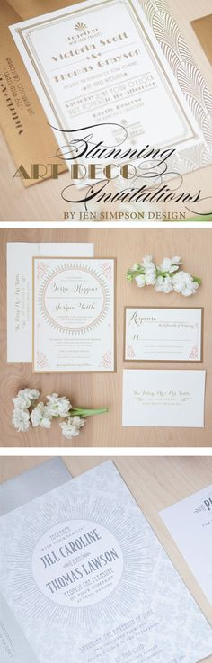 Stunning Art Deco wedding invitations by Jen Simpson Design #ArtDecoWedding