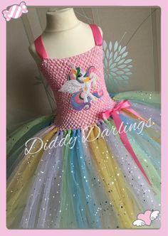 9df641a1d5599 Sparkly Princess Celestia Tutu Dress. My Little Pony Tutu Dress. Pastel  Unicorn. All Sizes Fully Customised. Sparkly Unicorn Costume