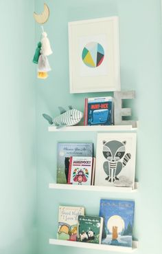 Our teal, grey, black, white and yellow modern industrial nursery with a subtle clouds theme.