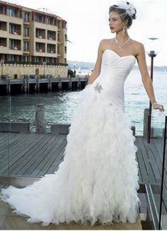 Beautiful Beach Wedding Dress! Sweetheart Satin And Organza A-Line Ruffles Chapel Train Wedding Dress - More here ---> http://www.weddingbuddy.net/category/wedding-dresses/beach-wedding-dresses/    #fashion #wedding #cute #wedding_dress #dress
