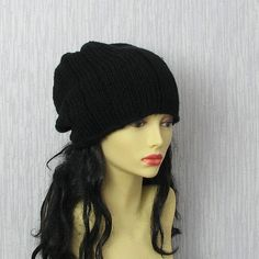 Hand Knit Slouch Beanie  Women's Slouchy Hat by AlbadoFashion