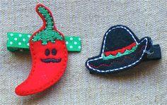 Mr. Pepper Hair Clip OR Cinco De Mayo Sombrero Hair Clip FREE SHIPPING on Etsy, $4.50