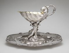 Silver jug with dish/Christian Precht, made in 1745.