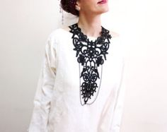 This special statement necklace or mini waistcoat is inspired by souks and gothic jewelry..    This unique lace waistcoat, just for you.. Lace is
