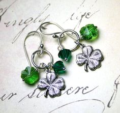Charming Lucky Clover Earrings in Emerald Green - Four Leaf Clover Earrings - Sterling Silver and Swarovski Crystal - Free Shipping