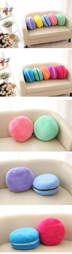 Macaroon pillow cushions perfect for bedroom and living room sofa decor Food Pillows, Cute Pillows, Diy Pillows, Decorative Pillows, Cushions, Cute Crafts, Diy And Crafts, Paris Rooms, Paris Bedroom