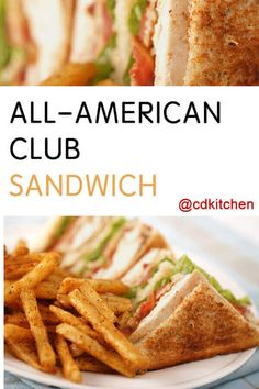 All-American Club Sandwich - Recipe is made with bacon, deli turkey breast, tomato, mayonnaise, Dijo Gourmet Sandwiches, Sandwich Bar, Club Sandwich Receta, Turkey Club Sandwich, Club Sandwich Recipes, Healthy Sandwich Recipes, Turkey Burger Recipes, Dinner Sandwiches, Grilled Sandwich