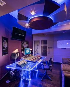 Home music studio ideas this very unique is dream asylum studios in impress Home Studio Musik, Music Studio Room, Studio Desk, Studio Setup, Music Rooms, Gaming Room Setup, Gaming Rooms, Pc Setup, Recording Studio Design