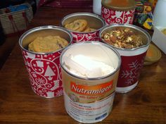 Reusing baby formula cans for packaging holiday goodies as gifts