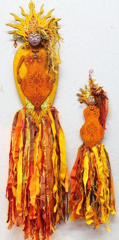 Sun Goddess OOAK Art Doll bright yellow Sunshine art