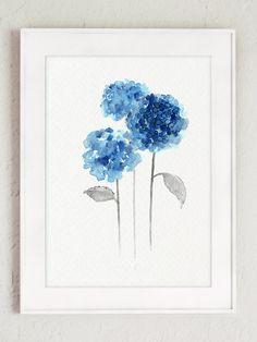 Hortensia bleu rustique mariage fleurs ensemble par ColorWatercolor