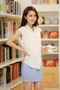 Aliexpress.com : Buy 2015 new arrival free shipping sping summer style women fashion sleeveless v neck pockets white solid chiffon shirt from Reliable fashion women shirts suppliers on Cher's store | Alibaba Group