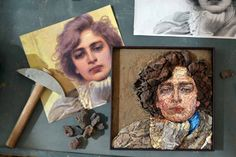 It really feels like magic when tesserae made of stone begin to form the eyes, the nose, the mouth, and finally the face gets its shape. Art Projects, Projects To Try, Mosaic Portrait, Mosaic Art, Renaissance, Mosaic Ideas, Sculpting, Shapes, Quilts