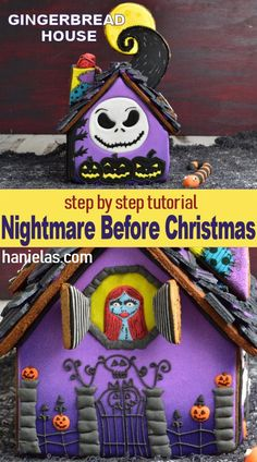 Amazing Nightmare Before Christmas Gingerbread House! <br> Step by step tutorial how to make one of a kind Nightmare Before Christmas Gingerbread House, with a video! Halloween Gingerbread House, Halloween House, Cute Halloween, Holidays Halloween, Halloween Crafts, Halloween Decorations, Christmas Decorations, Gingerbread Houses, Gingerbread Cookies